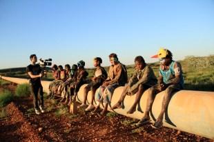 Aboriginal kids from cast of NEOMAD film, in Pilbara..