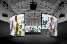 Doug Aitken, SONG 1, 2012/2015. 7-channel video installation (colour, sound). Installation view, Schirn Kunsthalle, Frankfurt, 2015.
