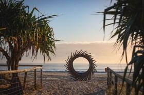 Sculpture on beach SWELL Festival