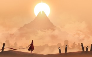 A sun sets behind a mountain on a desert world, a robed figure is in the foreground.